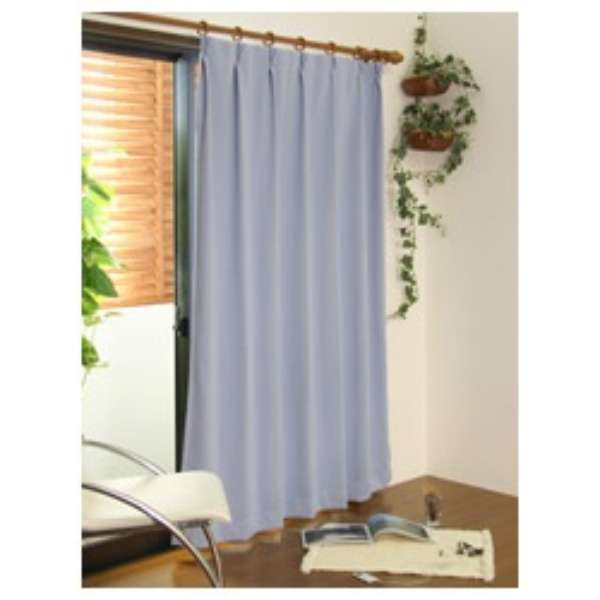 2枚組 遮光・防炎ドレープカーテン スキャット(100×135cm/ブルー)