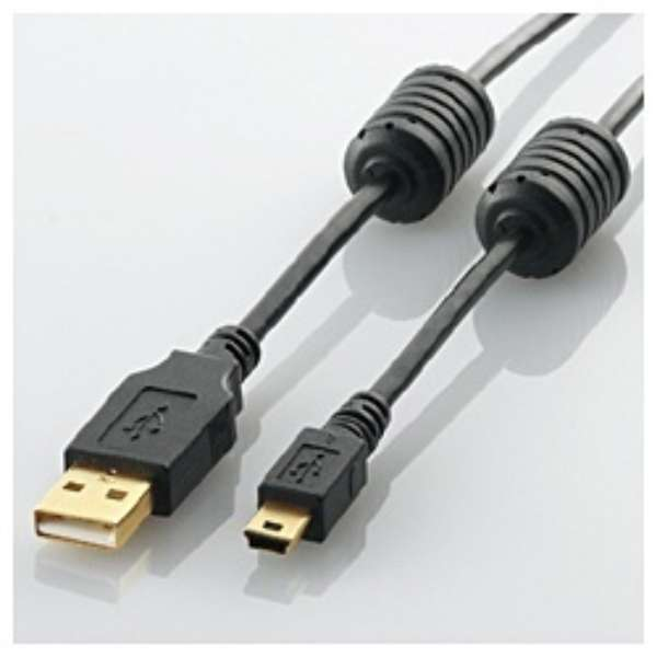1.5m USB2.0ケーブル 【A】⇔【miniB】 [フェライトコア付タイプ]U2C-MF15BK