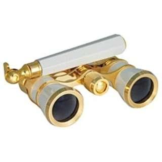 3倍双眼鏡「SA-59CF-HD 3×25mm」 オペラグラス(パールホワイト・柄付き)