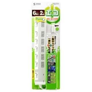 節電エコタップ (2ピン式・6個口・2m) TAP-S18-2