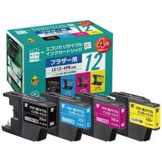 ECI-BR124P/BOX リサイクルインクカートリッジ 【ブラザー用  LC12-4PK互換】 4色パック