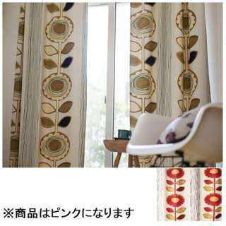ドレープカーテン サンフラワー(100×178cm/ピンク)【日本製】