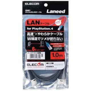 LANケーブル PS4対応 CAT6 やわらか 1m ブラック【PS4】