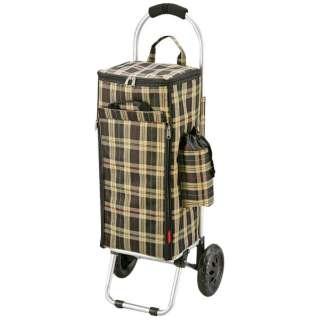 ライフ 楽々アルミショッピングカート 保冷バッグ付  (ブラウンチェック) MK-2445