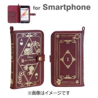 スマートフォン用[幅 75mm] Old Book Case「ディズニー」(アリス・イン・ワンダーランド/バーガンディ)