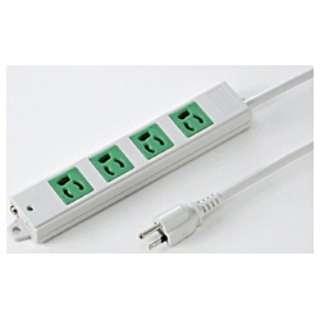 工事物件タップ(抜け止めタイプ) グリーン TAP-K4-3G [3.0m /4個口 /スイッチ無]