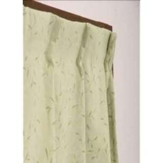 2枚組 ドレープカーテン プチリーフ(100×135cm/グリーン)