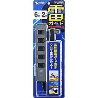 電源タップ[2ピン式・6個口] 雷ガード (2m・シルバー) TAP-SP208SV [生産完了品 在庫限り]