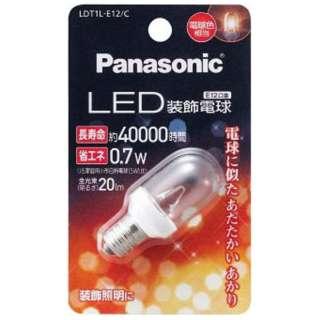 LED装飾電球 (装飾電球T形クリアタイプ・全光束20lm/電球色相当・口金E12) LDT1L-E12/C