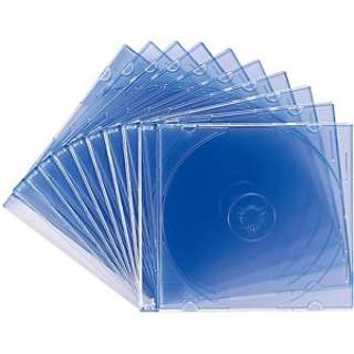 Blu-ray/DVD/CD対応スリム収納ケース 1枚収納×10 クリアブルー FCD-PU10BL