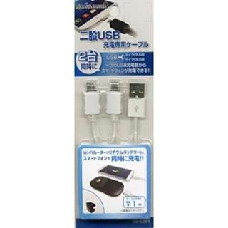 スマートフォン対応[micro USB] 充電USBケーブル (2分岐・1m・ホワイト) RBHE201 [1.0m]