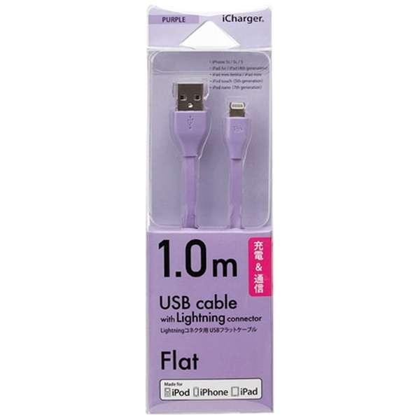 iPad / iPad mini / iPhone / iPod対応 Lightning ⇔ USBケーブル 充電・転送 (1m・パープル) MFi認証 PG-MFILGFC10PP