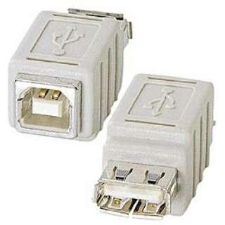 [USB-Aメス ⇔ USB-Bメス]変換アダプタ ホワイト AD-USB6