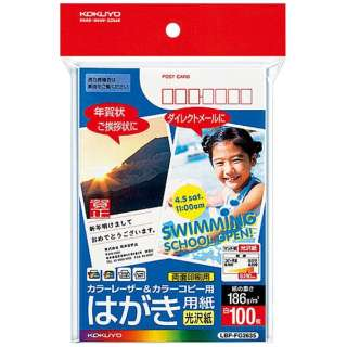 カラーレーザー&カラーコピー用紙 光沢(〒枠有り/ハガキ・100枚) LBP-FG2635