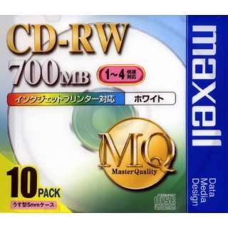 CDRW80PW.S1P10S データ用CD-RW MQシリーズ ホワイト [10枚 /700MB /インクジェットプリンター対応]