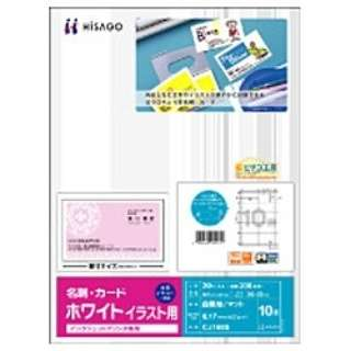 〔インクジェット〕 名刺・カード イラスト用 20枚 (A4サイズ 10面×20シート) ホワイト CJ160S