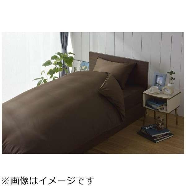 【ワンタッチシーツ】80サテン ダブルサイズ(綿100%/145×215cm/ブラウン)【日本製】