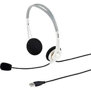 MM-HSUSB16W ヘッドセット ホワイト[USB /両耳 /ヘッドバンドタイプ]