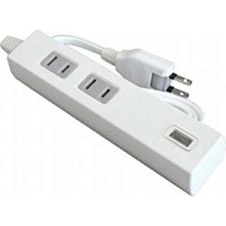USB充電ポート付電源タップ (2ピン式・2個口+USB1ポート/1.0m ホワイト) TU1A2-1