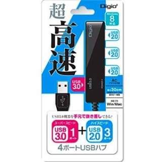 UH-3014 USBハブ  ブラック [USB3.0対応 / 4ポート / バスパワー]
