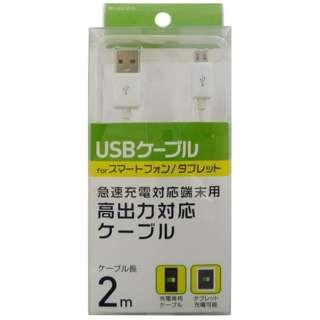[micro USB]充電USBケーブル (2m・ホワイト)BKS-HUCSP20W [2.0m]