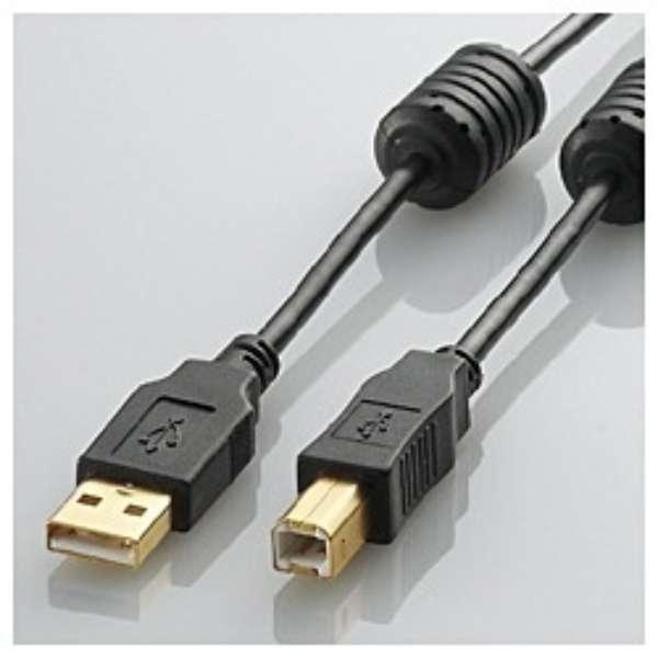 1.5m USB2.0ケーブル 【A】⇔【B】 [フェライトコア付タイプ]  U2C-BF15BK