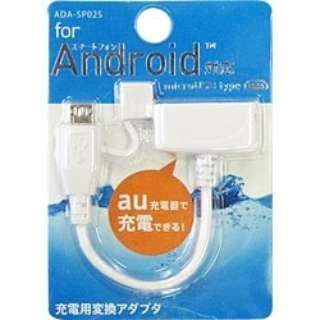 スマートフォン用[micro USB] 充電変換アダプタ  6cm・ホワイト (au用) ADA-SP02WS