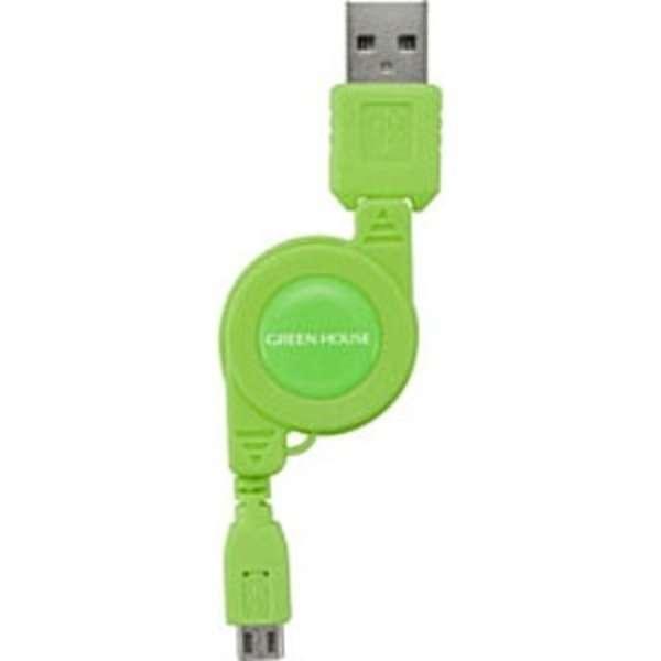 [micro USB]ケーブル 充電 (リール12~78cm・グリーン)GH-UCRMB-GR [0.12~0.78m]