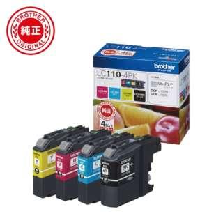 LC110-4PK 【ブラザー純正】インクカートリッジ4色パック LC110-4PK 対応型番:DCP-J152N、DCP-J137N、DCP-J132N 他 4色パック