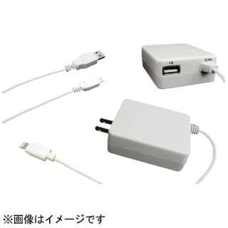 AC充電器 Lightning+micro USBケーブル 1m ホワイト QM-024WH [USB給電対応 /1ポート]