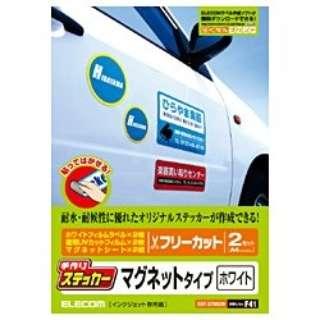 """""""手作りステッカー"""" マグネットタイプ (A4サイズ・2セット・ホワイト) EDT-STMGW"""