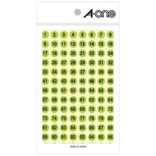 特殊ラベル(数字・蛍光緑・4シート) 08084