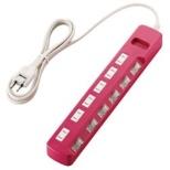 タップ Color Style(カラースタイル) ピンク T-PN04-2620PN [2.0m /6個口 /スイッチ付き(個別)]