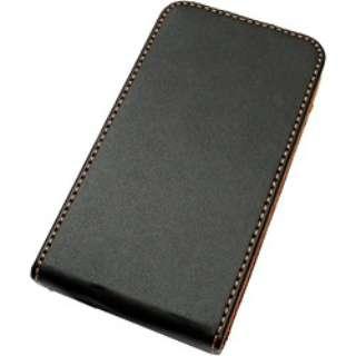 iPhone 4S/4用 レザージャケット フラップタイプ (ブラック:裏地 オレンジ起毛) RT-P4LC1/B