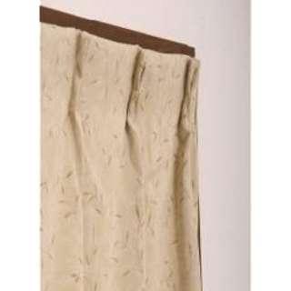 2枚組 ドレープカーテン プチリーフ(100×135cm/ベージュ)