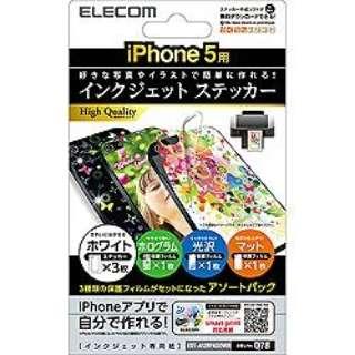 iPhone 5c/5s/5用 インクジェットステッカー (アソート) EDT-A12RPASOWH