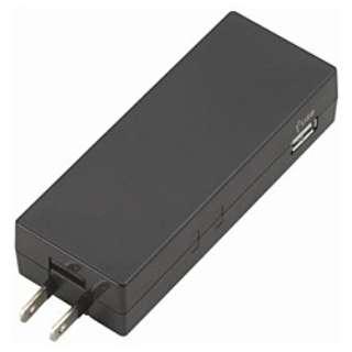 USB充電ポート付電源タップ (2ピン式・1個口+USB2ポート/コード無し コーナータップ型 ブラック) HC300BK2U2A