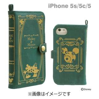 buy online d8e29 6d62e ビックカメラ.com - iPhone 5c/5s/5用 Old Book Case 「ディズニー」(ミッキー&ミニー/モスグリーン)
