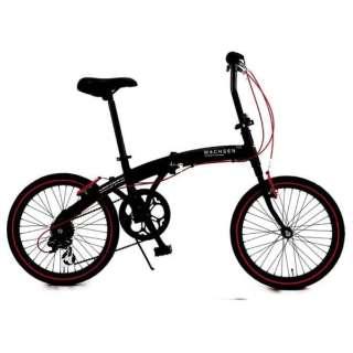 20型 折りたたみ自転車 アングリフ(ブラック×レッド/6段変速) BA-100 【組立商品につき返品不可】