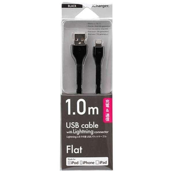 iPad / iPad mini / iPhone / iPod対応 Lightning ⇔ USBケーブル 充電・転送 (1m・ブラック) MFi認証 PG-MFILGFC10BK