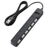個別スイッチ・ほこり防止シャッター付TV用雷ガードタップ (6個口・2.5m) T-TVK04-2625BK