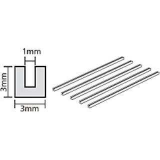透明プラ材 3mm コの字形棒(5本入)