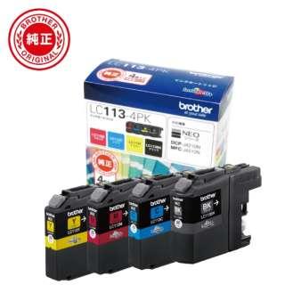 LC113-4PK 【ブラザー純正】インクカートリッジ4色パック LC113-4PK 対応型番:MFC-J6975CDW、MFC-J6973CDW、MFC-J6770CDW、MFC-J6573CDW 他 4色パック