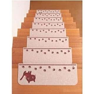 【バリアフリー】折り曲げ付階段マット 45×21cm 15枚入 KD-57(ネコ)