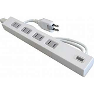 USB充電ポート付電源タップ (2ピン式・4個口+USB1ポート/1.0m ホワイト) TU1A41