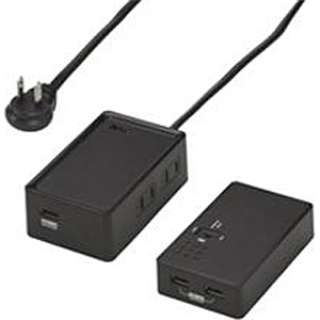 リチウムバッテリー付USBタップ (2P・2個口・USB4ポート・1m・黒) HLI601BK4U