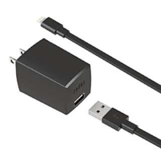 [ライトニング]USB電源アダプタ +ライトニングケーブル 1m (ブラック) MFi認証 PA-ADF51K