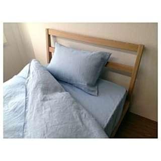【ボックスシーツ】麻(リネン) セミダブルサイズ(麻100%/120×200×30cm/ブルー)