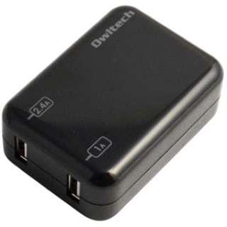 タブレット/スマートフォン対応[USB給電] AC-USB充電器 (2ポート:2.4A/1A・ブラック) OWL-ACUS2T(B)