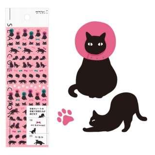 手帳用シール 2145 MIDORI 黒猫柄 82145006 [1シート]